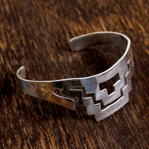Geometric Taxco Sterling Silver Cuff Bracelet from Mexico 'Geometric Pyramid'