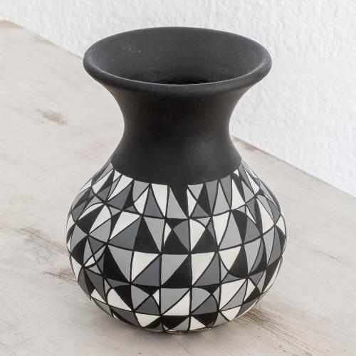 Geometric Ceramic Decorative Vase from Nicaragua 'Elegant Geometry'