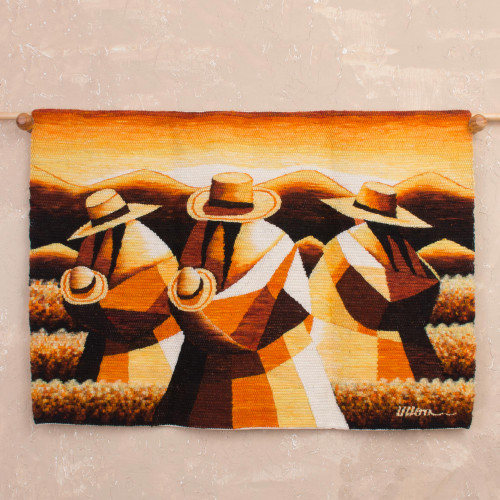 Handwoven Wool Tapestry of Andean Workers from Peru 'Sunset in the Andean Country'
