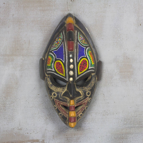 Multi-Color Hand Carved Wood African Good Luck Wall Mask 'Thamsanqa'
