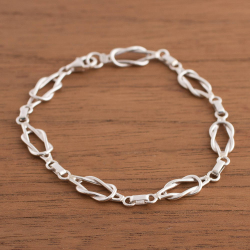 Sterling Silver Link Bracelet from Peru 'Intertwined Links'