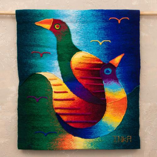 Handwoven Bird-Themed Alpaca Blend Tapestry from Peru 'Birds in Spring'