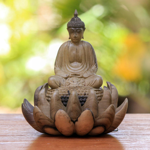 Wood Sculpture of Buddha on a Lotus Flower from Indonesia 'Buddha on Lotus'