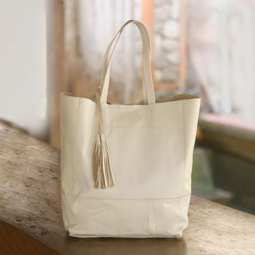 Stylish Leather Tote Handbag in Alabaster from Bali 'Sumatra Style'