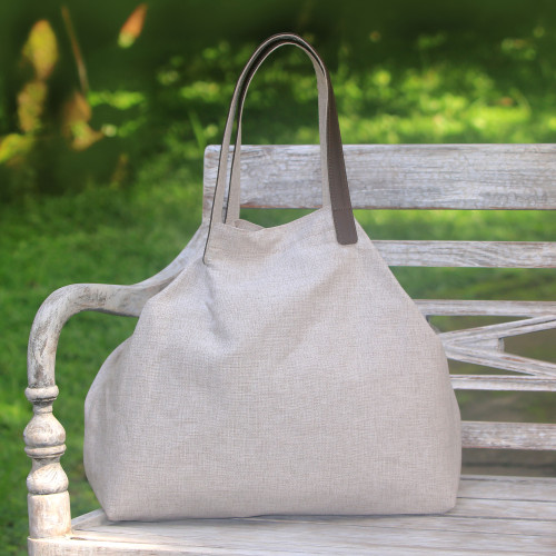Leather Accent Cotton Tote in Solid Oyster from Java 'Oyster Style'