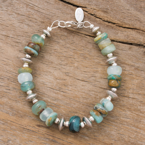 Green Opal Beaded Bracelet Crafted in Peru 'Andean Green'