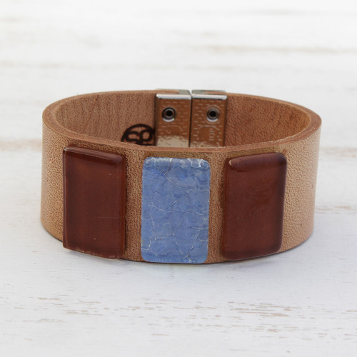 Blue and Brown Glass and Leather Wristband Bracelet 'Sepia Sky'
