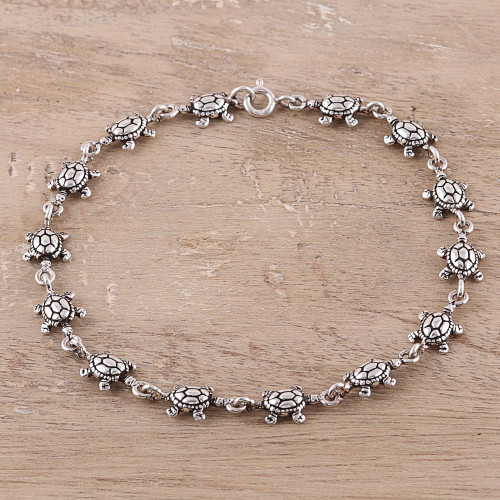 Sterling Silver Turtle Link Bracelet from India 'Turtle Unison'