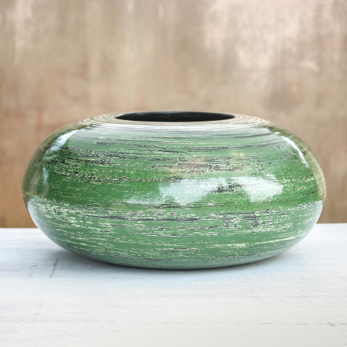Round Green Bamboo Lacquerware Decorative Vase from Thailand 'Round Green'