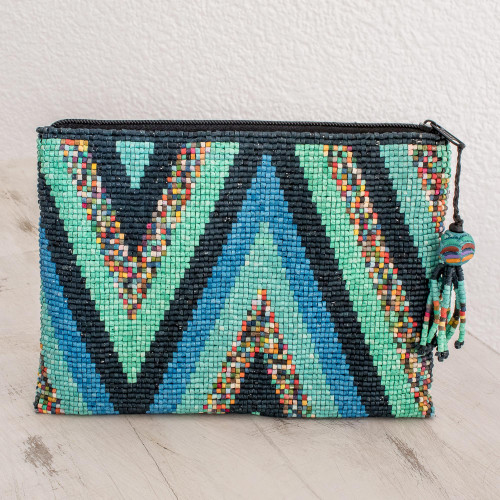 Zigzag Ceramic Beaded Clutch from Guatemala 'Lakes and Mountains'