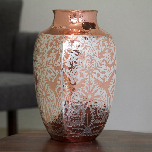 Silver Accented Copper Vase with Peacocks from Mexico 'Peacock Gleam'