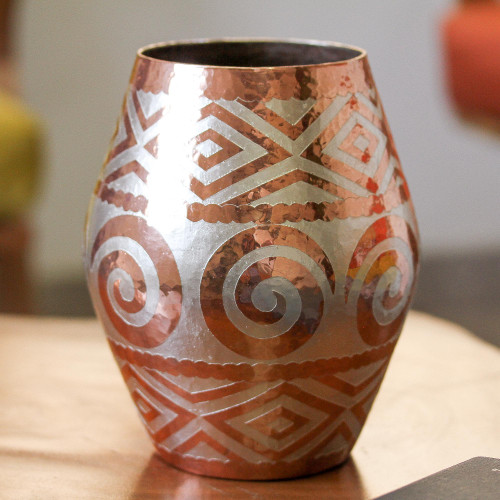 Spiral Motif Silver Accented Copper Vase from Mexico 'Ancient Pottery'