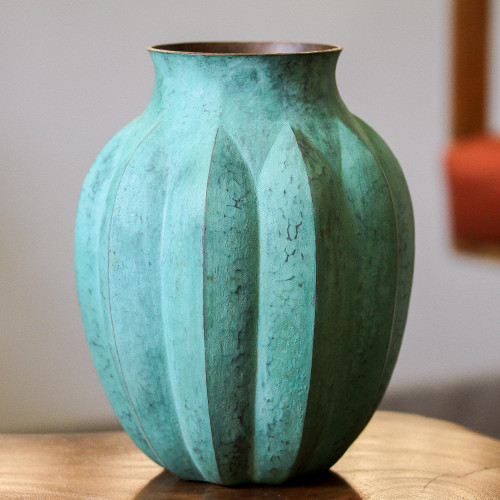Antiqued Copper Vase from Mexico 'Antique Lines'
