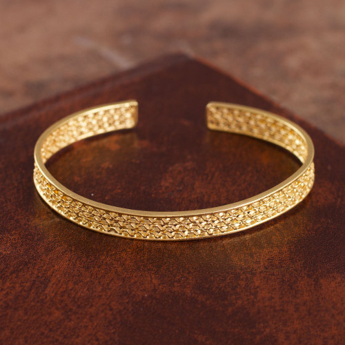 Gold Plated Sterling Silver Filigree Cuff Bracelet from Peru 'Colonial Shine'
