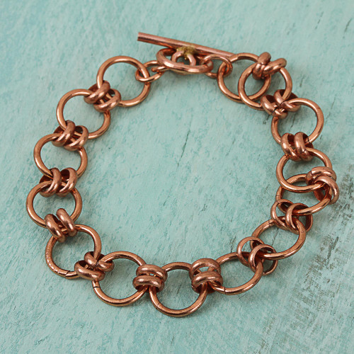 Handmade Copper Link Bracelet from Mexico 'Antique Rings'