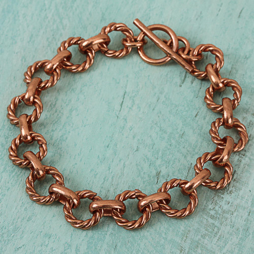 Rope Pattern Copper Link Bracelet from Mexico 'Rope Bonds'