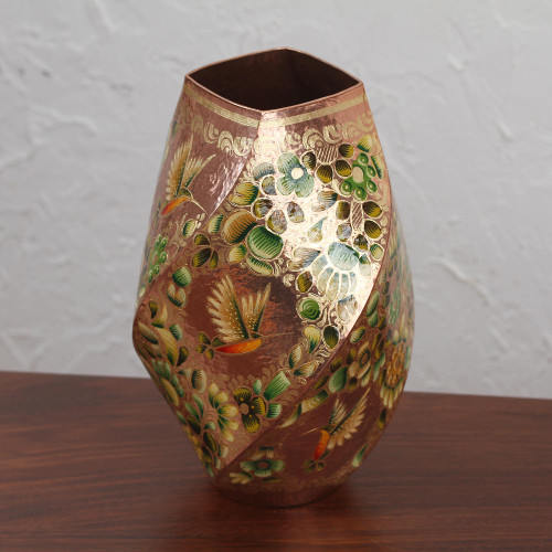 Hummingbird Motif Gold Accented Copper Vase from Mexico 'Hummingbird Dream'