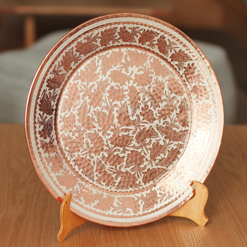 Floral Silver Accented Copper Decorative Plate from Mexico 'Gleaming Spring'