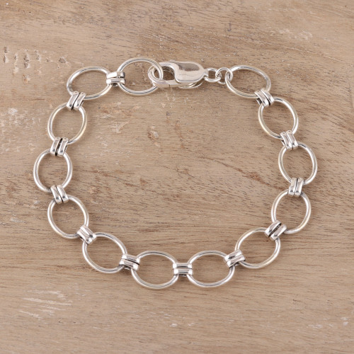 Oval Sterling Silver Link Bracelet from India 'Contemporary Ovals'