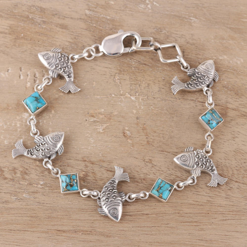 Sterling Silver and Composite Turquoise Fish Bracelet 'Fish Delight'