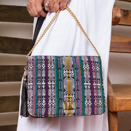 Mayan Pattern Leather Accented Cotton Sling from Mexico 'Maya Traveler'