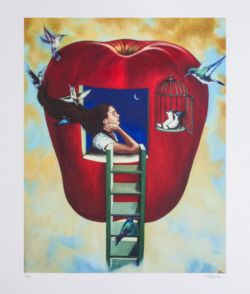Signed Surrealist Print of a Girl in an Apple from Mexico 'The Third Voyage'