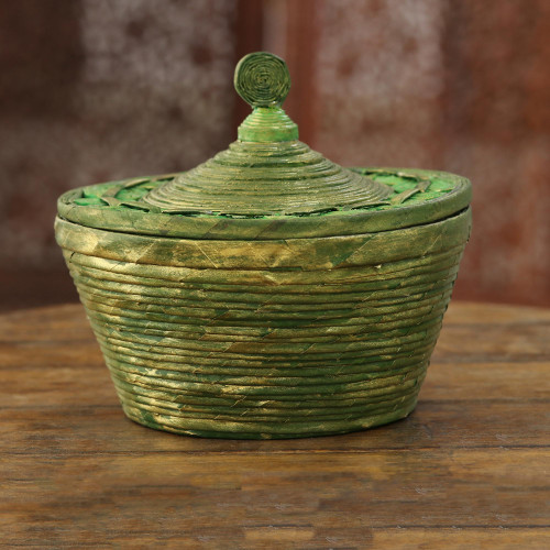 Green Recycled Paper Decorative Basket from India 'Eco Green'