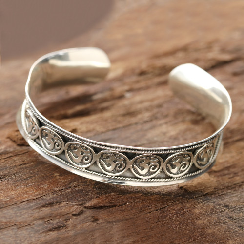 Sterling Silver Om Cuff Bracelet from India 'Om Parade'