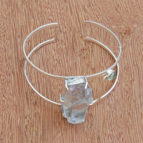 Gold Accented Prasiolite and Peridot Cuff Bracelet 'Mountain River'