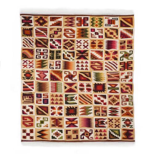 Handwoven Geometric Wool Area Rug from Peru 5.5x7.5 'Ancient Calendar'
