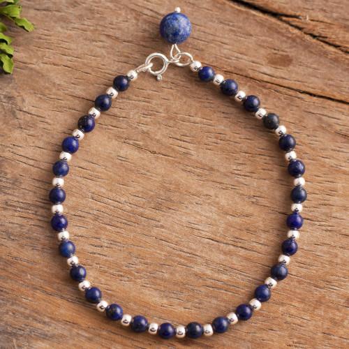 Lapis Lazuli Beaded Bracelet Crafted in Peru 'Magical Gleam'