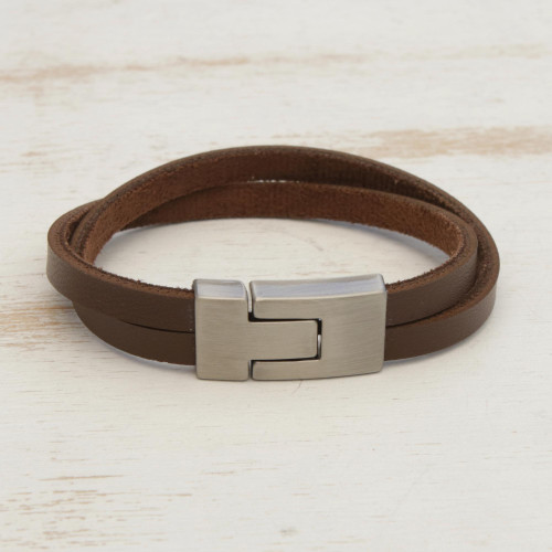 Men's Brown Faux Leather Brushed Steel Wristband Bracelet 'In the Mix in Brown'