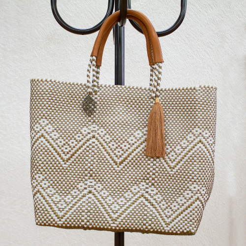 White and Gold-Tone Leather Accented Plastic Tote 'Golden Zigzags'