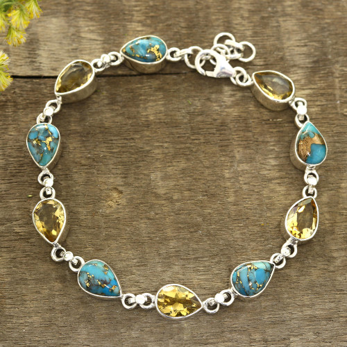 Citrine and Composite Turquoise Link Bracelet from India 'Sunny Drops'