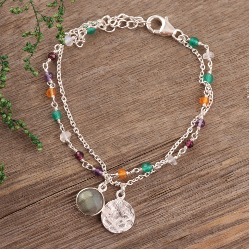 Multi-Gemstone Sterling Silver Bracelet from India 'Colorful Charm'