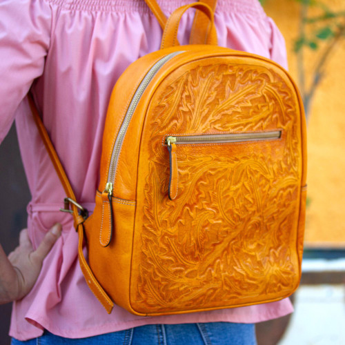 Floral Pattern Leather Backpack in Saffron from Mexico 'Floral Artisan in Saffron'