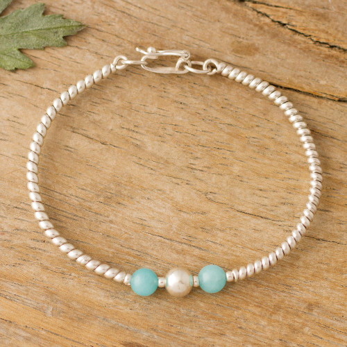Spiral Pattern Amazonite Bracelet from Peru 'Fantastic Spiral'