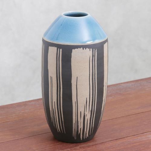 Modern Celadon Ceramic Vase from Thailand 'Modern Garden'