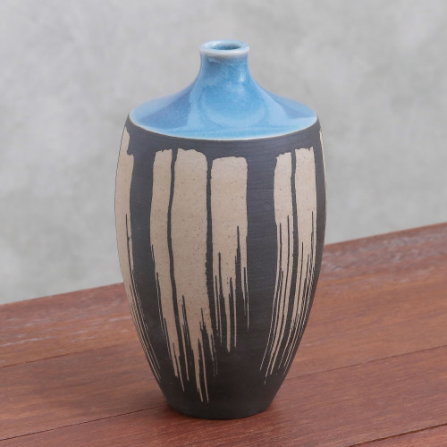 Celadon Ceramic Vase in Blue from Thailand 'Grey Cascade'