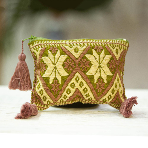Redwood and Beige Cotton Coin Purse from Mexico 'Subtle Geometry'