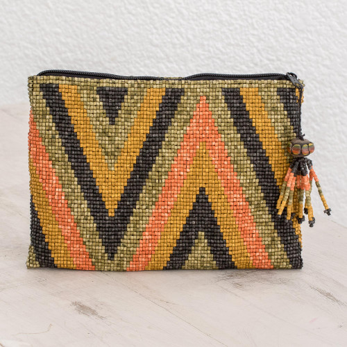 Zigzag Pattern Beaded Coin Purse from Guatemala 'Paths and Mountains'