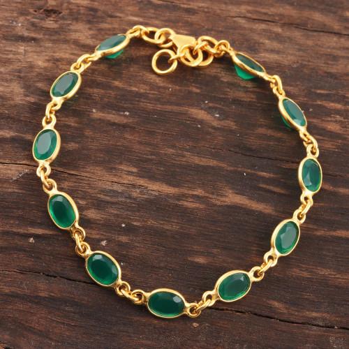 11-Carat Gold Plated Green Onyx Link Bracelet from India 'Verdant Glitz'