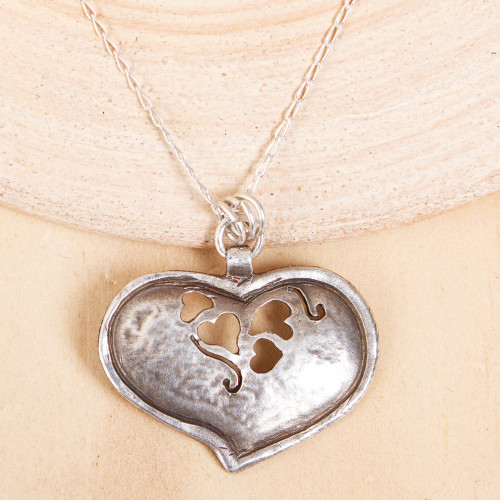 Heart-Shaped Sterling Silver Pendant Necklace from Mexico 'Cutout Heart'