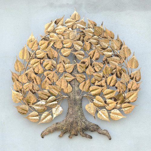 Gold Foil and Steel Bodhi Tree Wall Sculpture from Thailand 'Bodhi Tree'