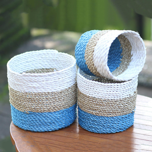 Set of 3 Handwoven Agel Grass Baskets from Indonesia 'Nature's Trio'