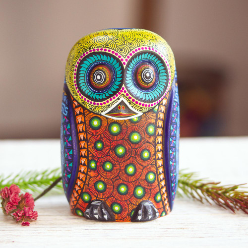 Colorful Hand Carved and Painted Alebrije Owl Sculpture 'Mystical Owl'