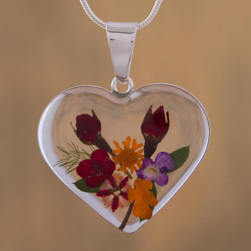 Heart-Shaped Natural Flower Pendant Necklace from Mexico 'Flowering Heart'