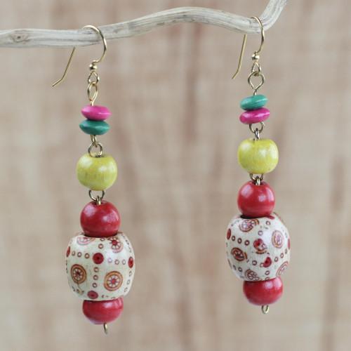 Handmade Colorful Wood Beaded Dangle Earrings from Ghana 'Joyful Sunrise'