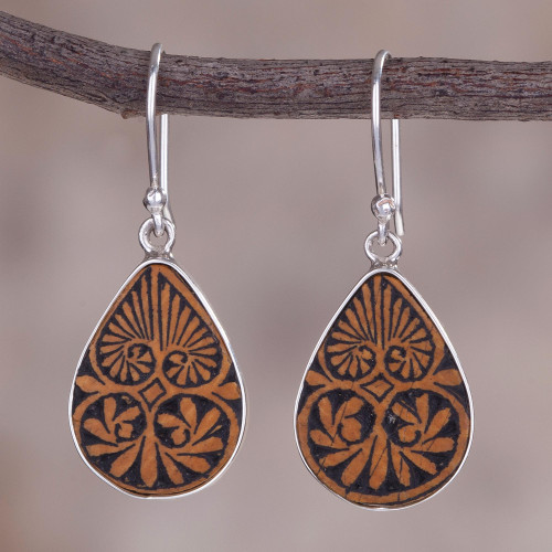 Sterling Silver and Pumpkin Shell Dangle Earrings from Peru 'Infinite Cosmos'
