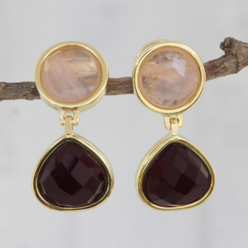 Gold Plated Amethyst and Rose Quartz Earrings from Brazil 'Equilibrium'